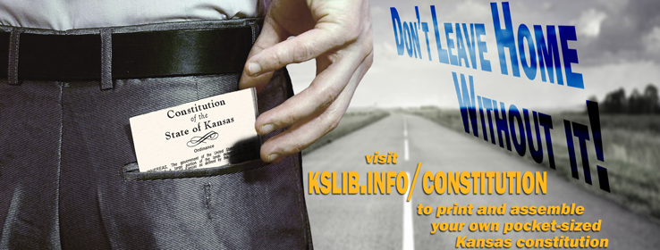 Banner image promoting the printable Kansas constitution from the state library